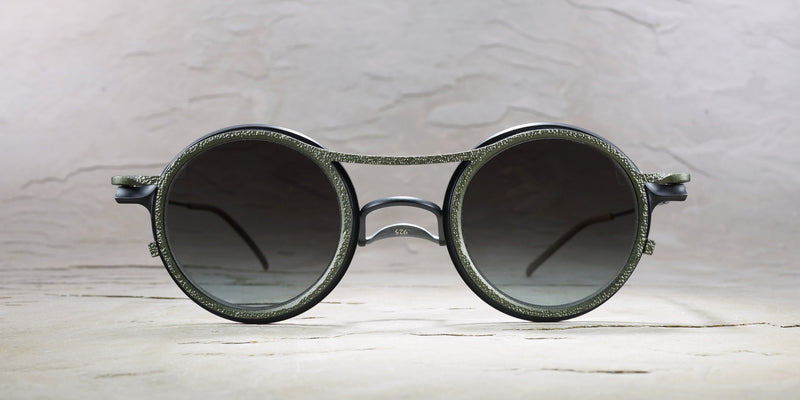 RIGARDS X THE VIRIDI-ANNE BLACK+OLIVE CONCRETE SUNGLASSES WITH CLEAR BLACK LENS