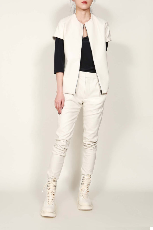 White Faux Leather Short Sleeve Jacket
