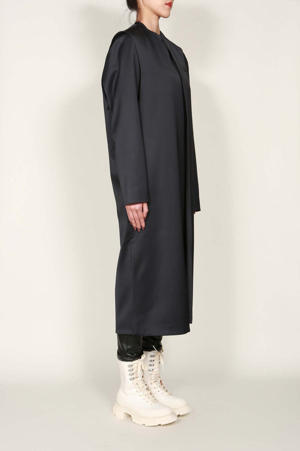 Charcoal Satin Long Extended Coat