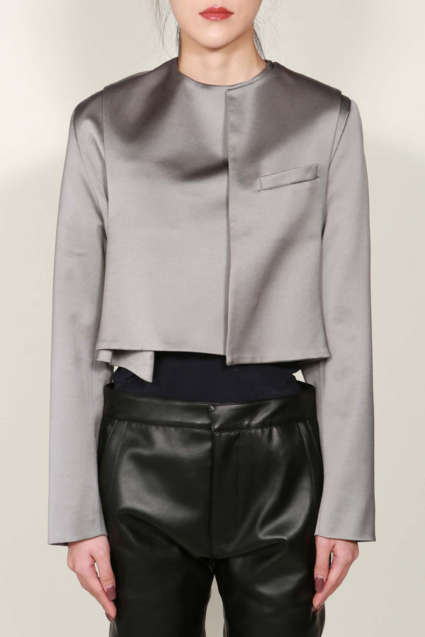 Grey Satin Cropped Extended Jacket