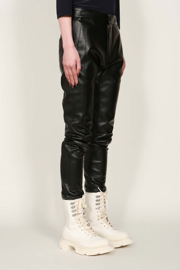 Black Faux Leather Panel Trousers