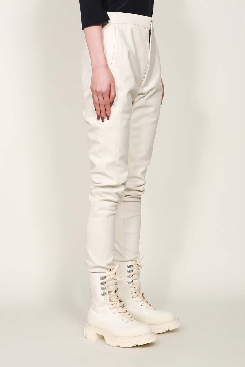 White Faux Leather Panel Trousers