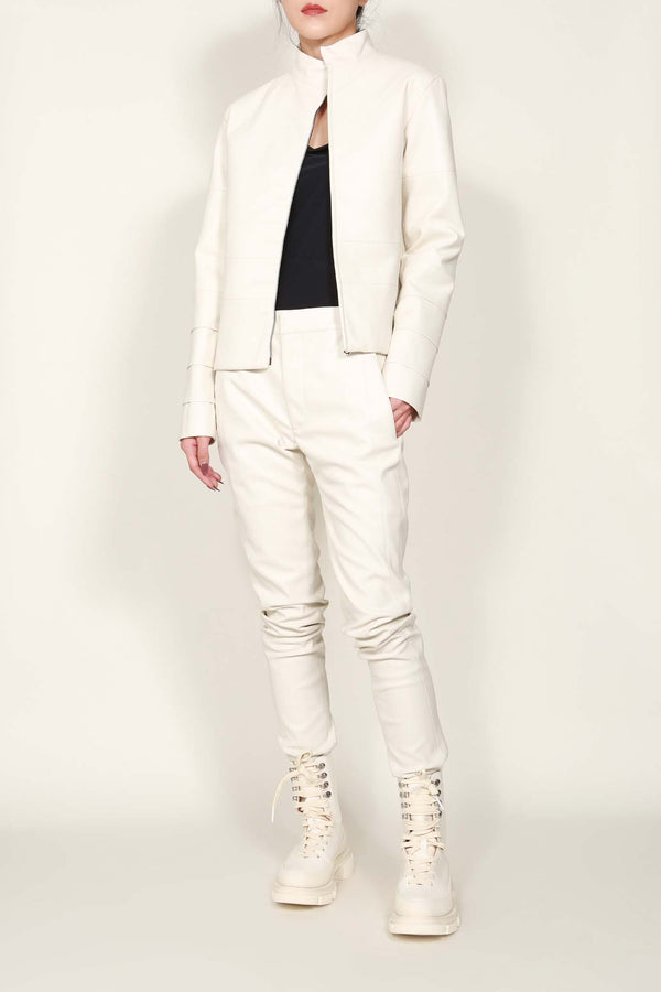 White Faux Leather Panel Jacket