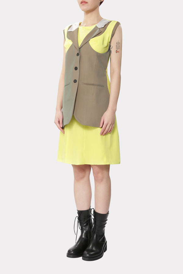 Dress with Breast Detail and Vest