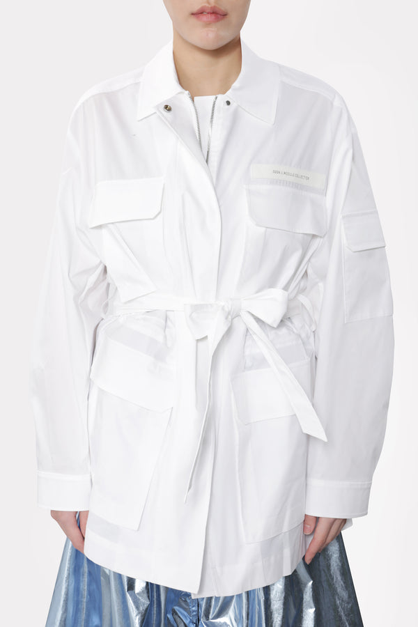 Belted Safari Jacket White