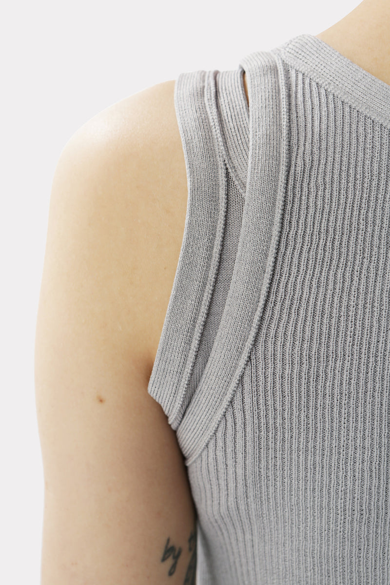 Unbalanced Sleeveless Knit Light Grey
