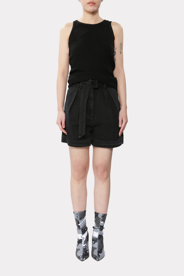 UNBALANCED SLEEVELESS KNIT BLACK