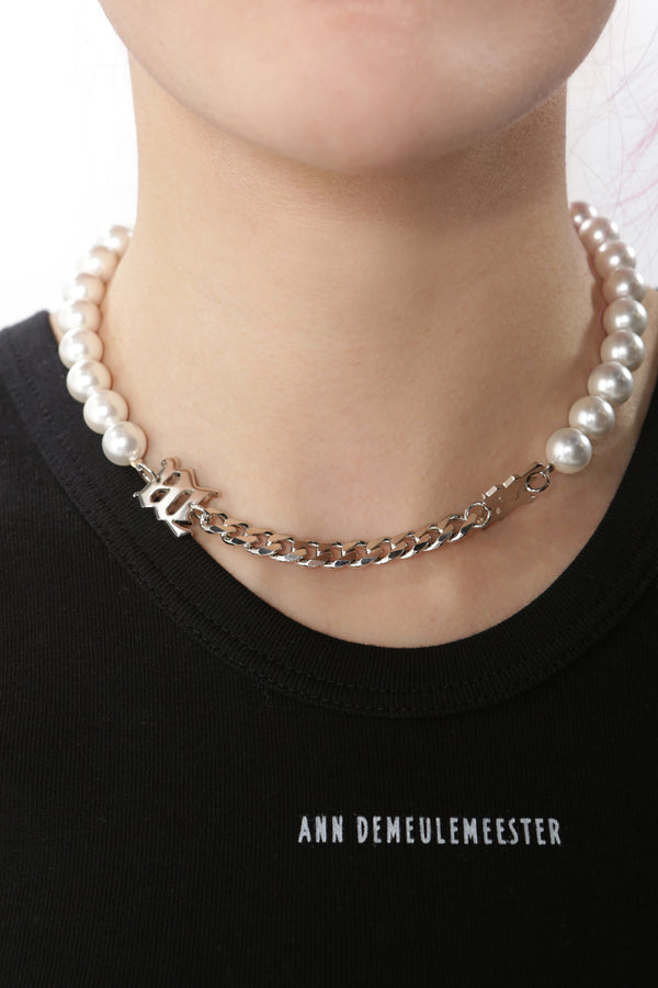 """M"" White Pearl + Curb Link Necklace"