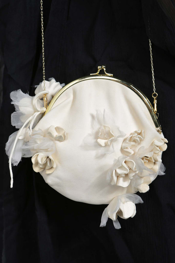 Dirty White Hand Stitch Floral Purse Shoulder Bag