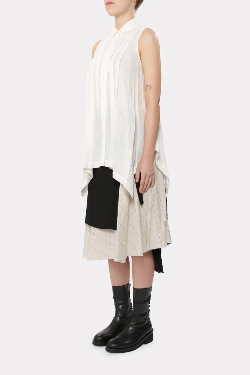 Cream Sleeveless Tent Shirt