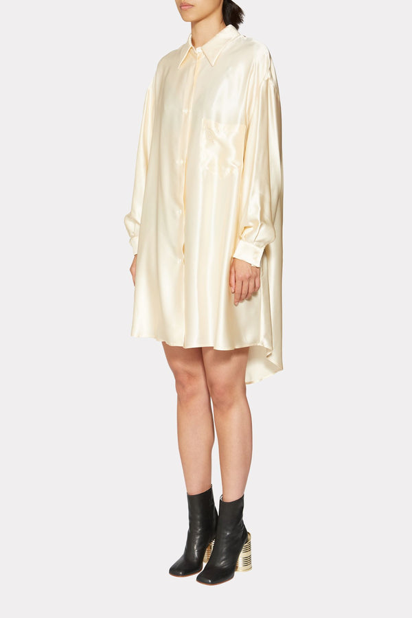 Cream Overfitted Shirt Dress