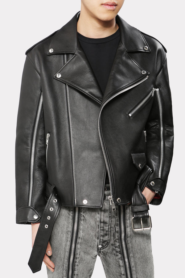 GRAIN LEATHER BIKERS JACKET