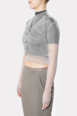 Silver See-Through Layered Knit