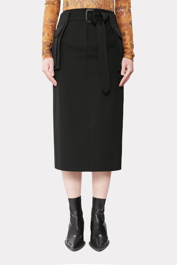 Solid Pocket Belt Midi Skirt