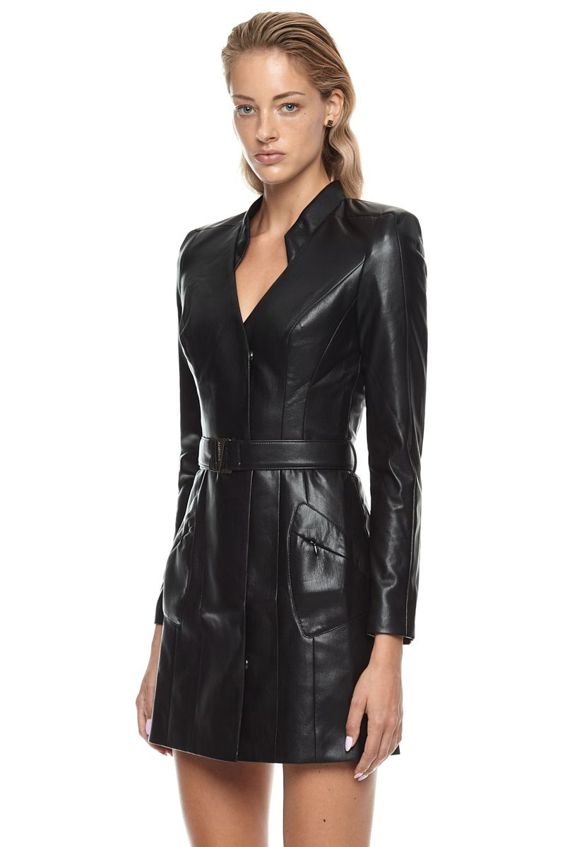 Vegan Leather Trinity Longsleeve Dress Black