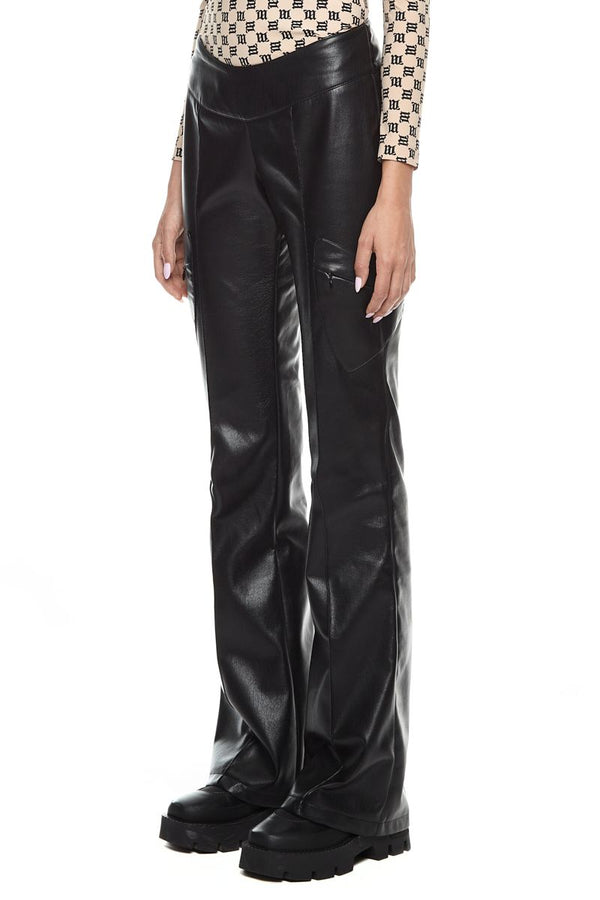VEGAN LATHER TRINITY TROUSERS BLACK