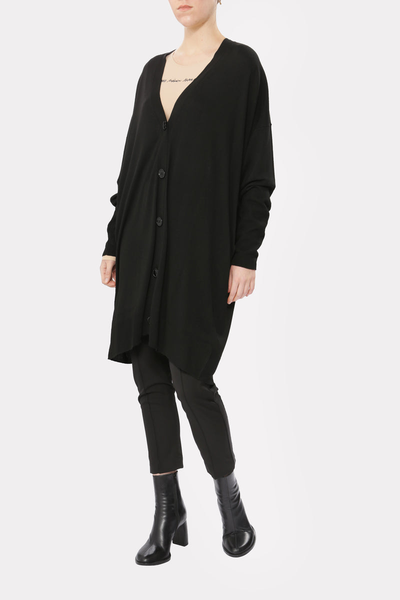 Black Over-length Cardigan