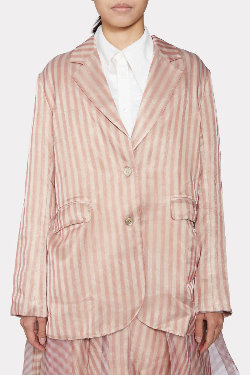 STRIPED ORGANZA PLEATED BLAZER