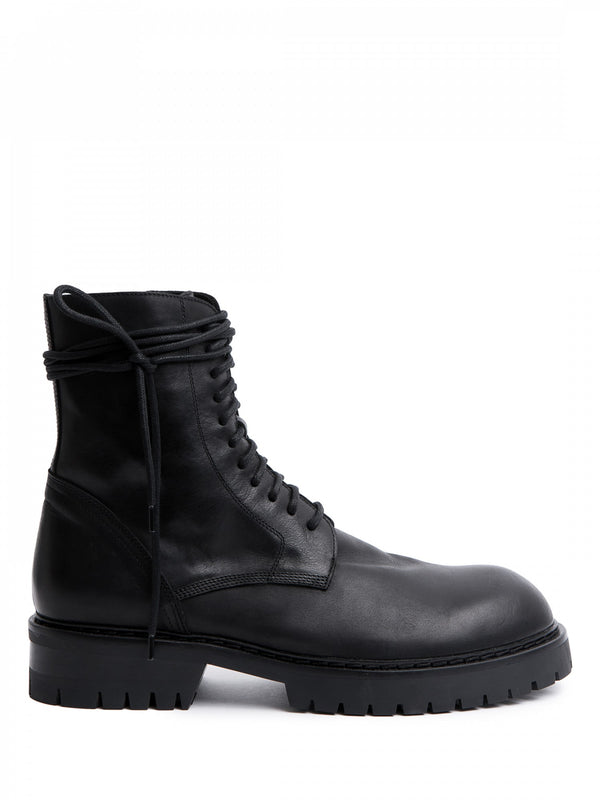 MENS CLASSIC FLAT LACED ZIP BOOTS -  VITELLO LUCIDO NERO