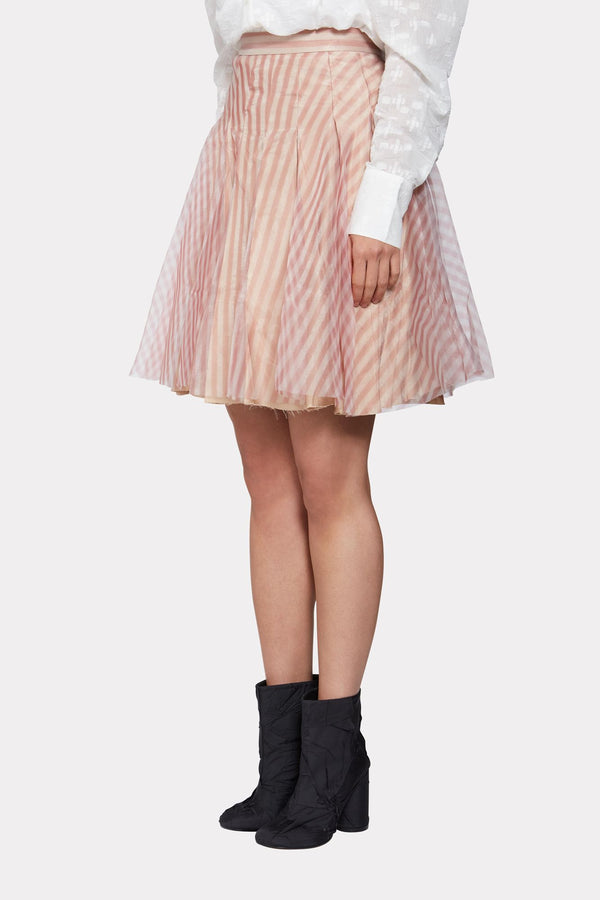 STRIPED ORGANZA PLEATED SKIRT
