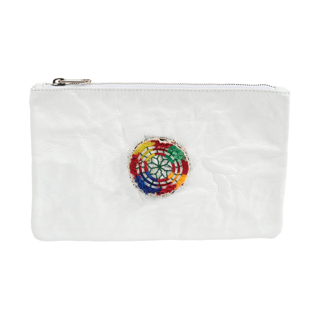 Leather Embellished Pouch