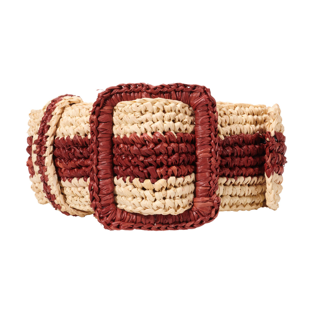Raffia Belt - Natural / Burgundy