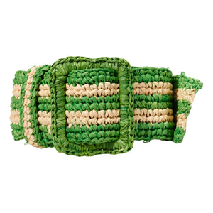 Raffia Belt - Natural / Green