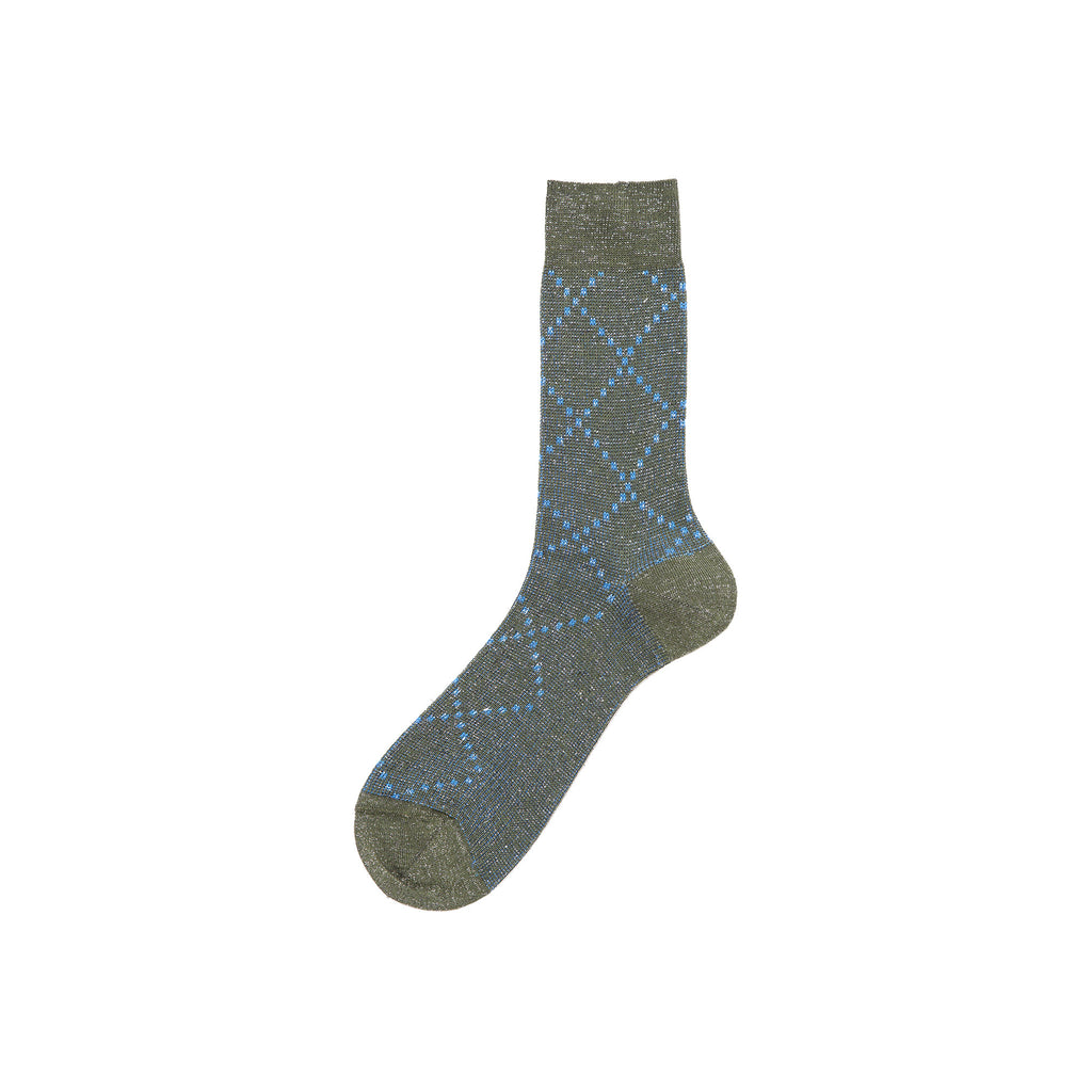 Check Sock - Green/Blue