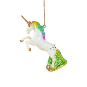 Glitter Rainbow Unicorn Ornament