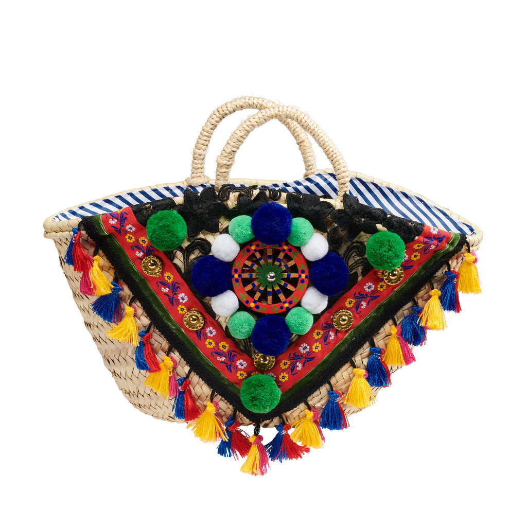 Sicilian Coffa Embellished Basket