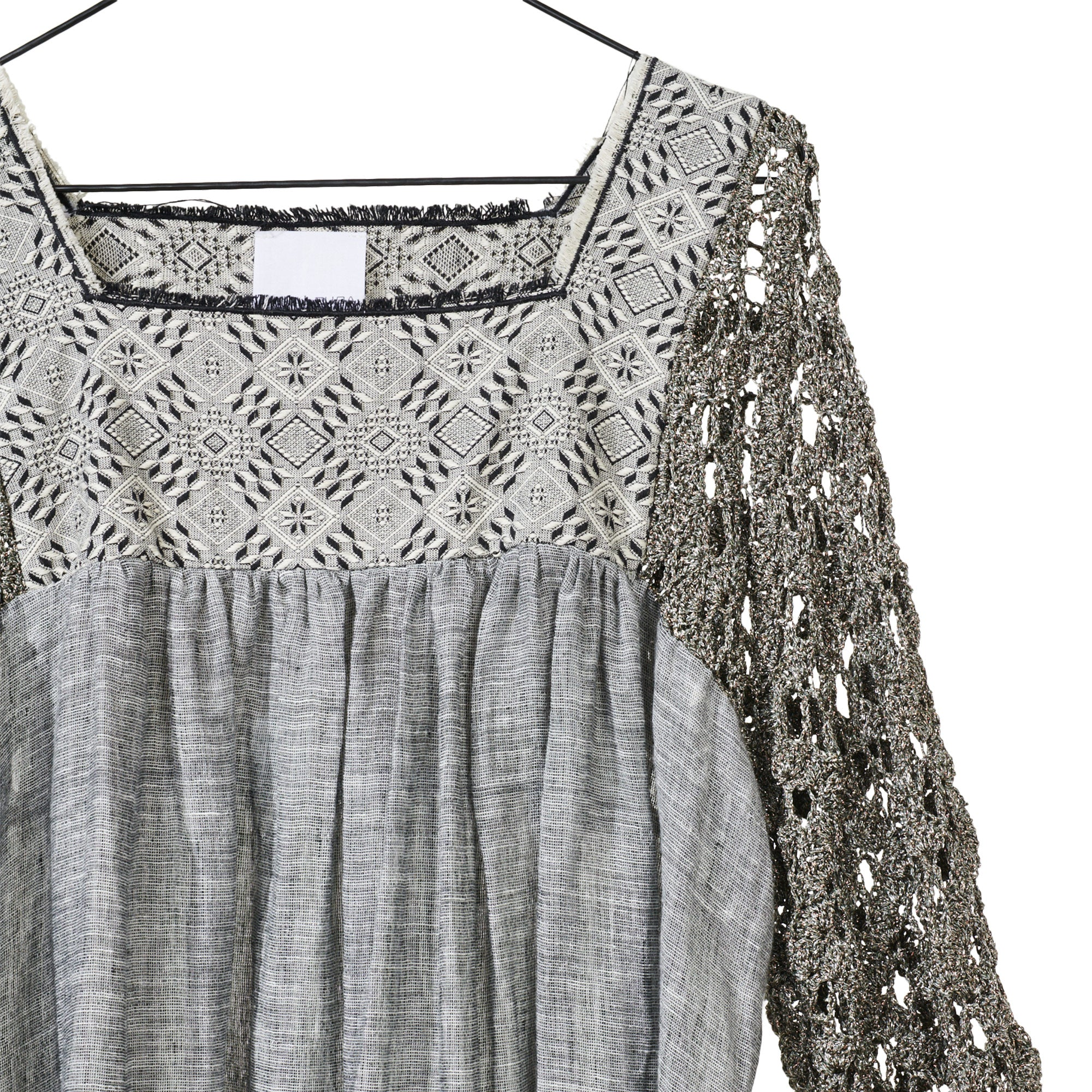 Grey Crochet Linen Dress