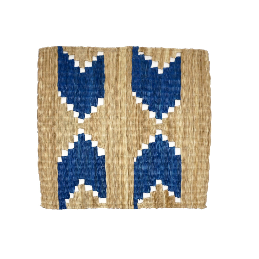 Patterned Fique Placemat Set - Blue