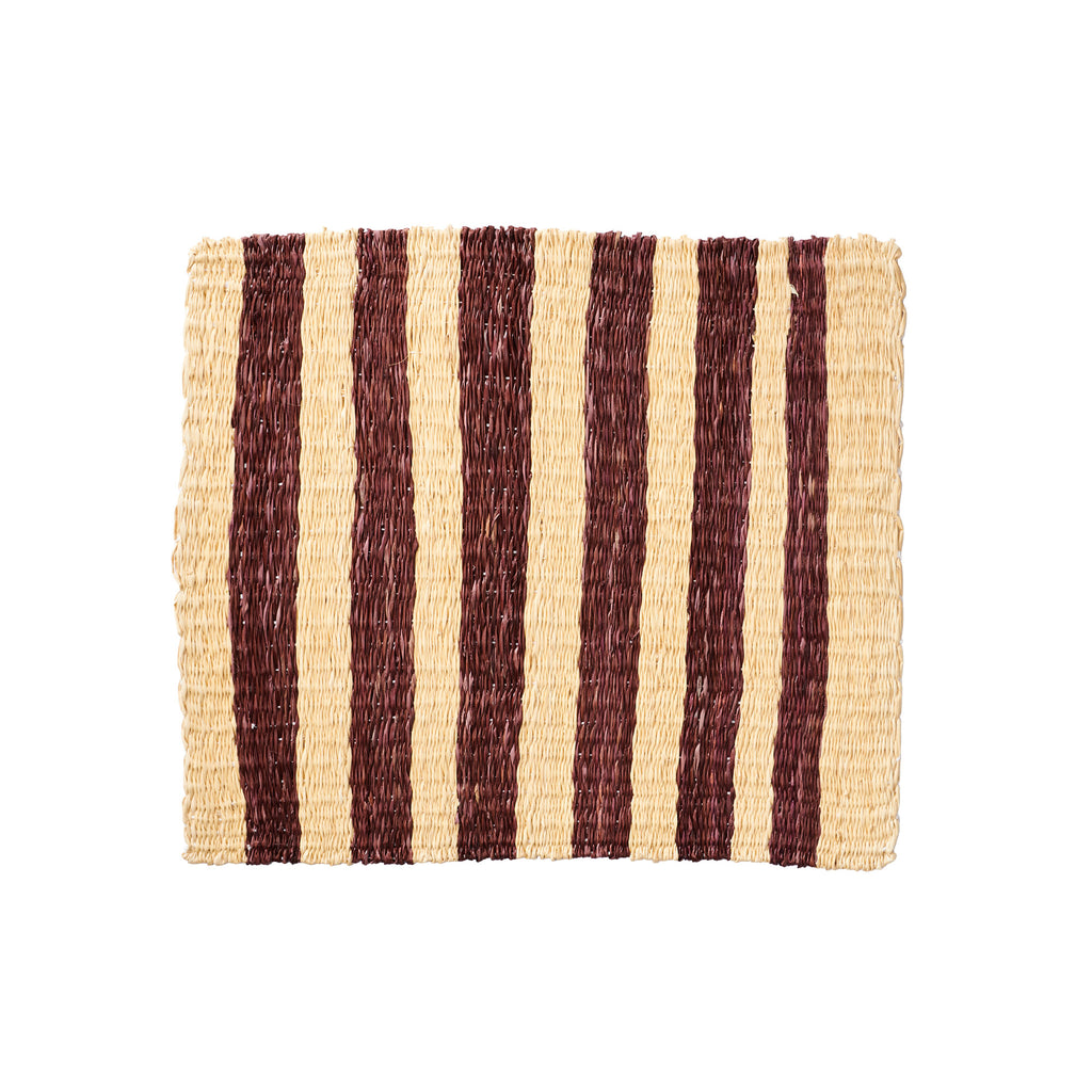 Striped Fique Placemat Set - Brown