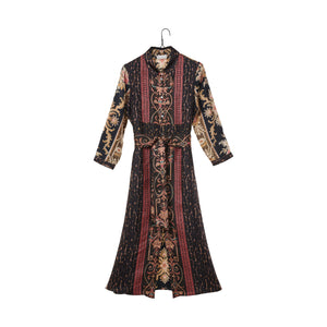 Mixed Print Tie Dress - Brown