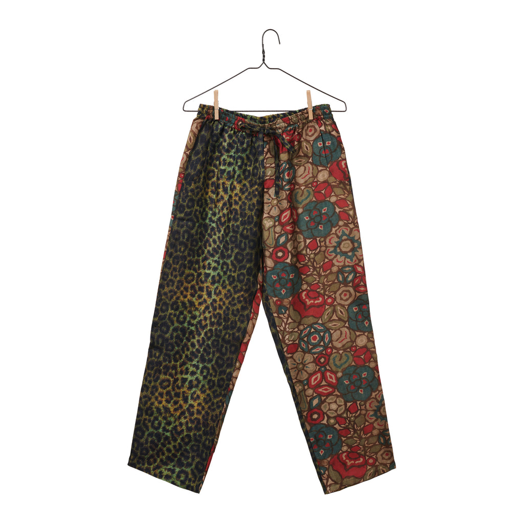 Mixed Print Silk Pants