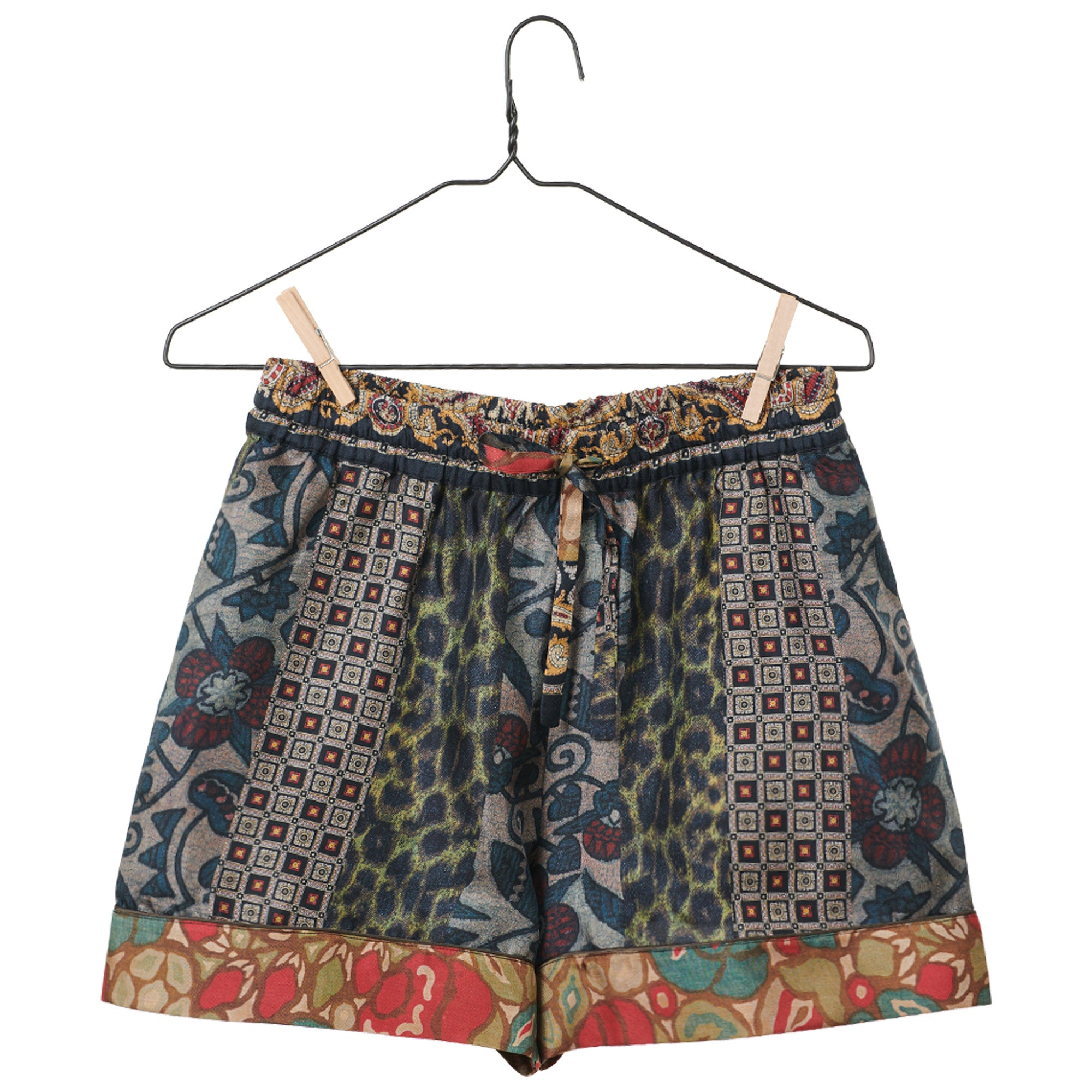 Mixed Print Silk Shorts