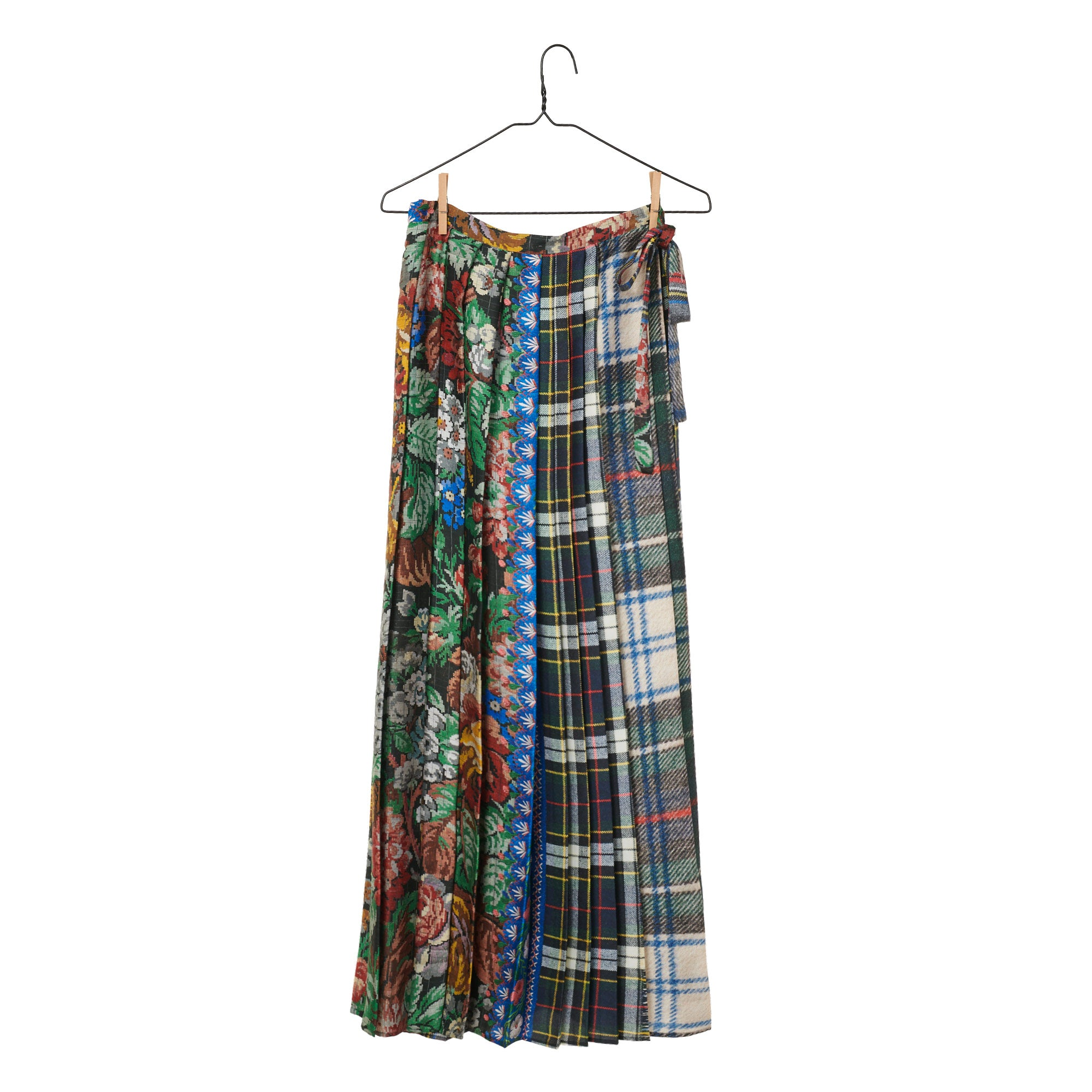 Patchwork Pleated Wrap Skirt
