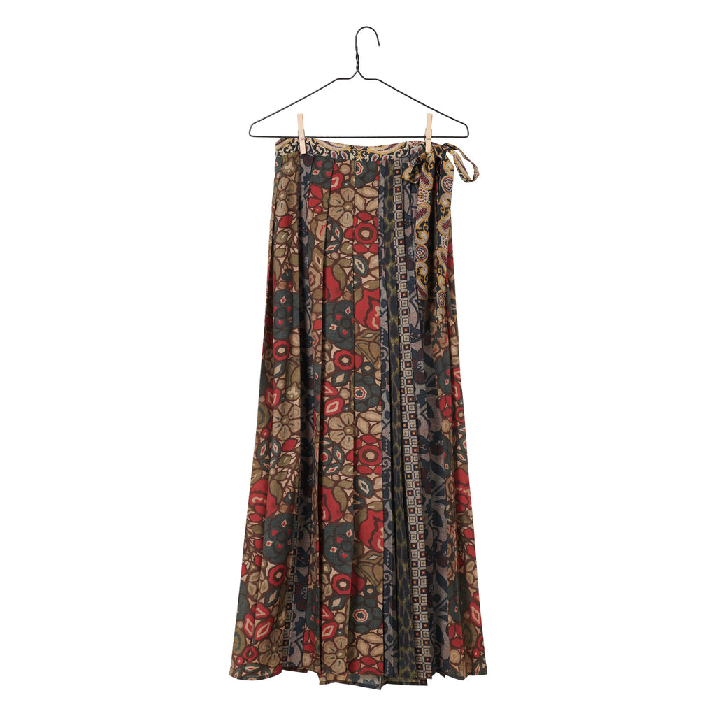Mixed Print Pleated Wrap Skirt