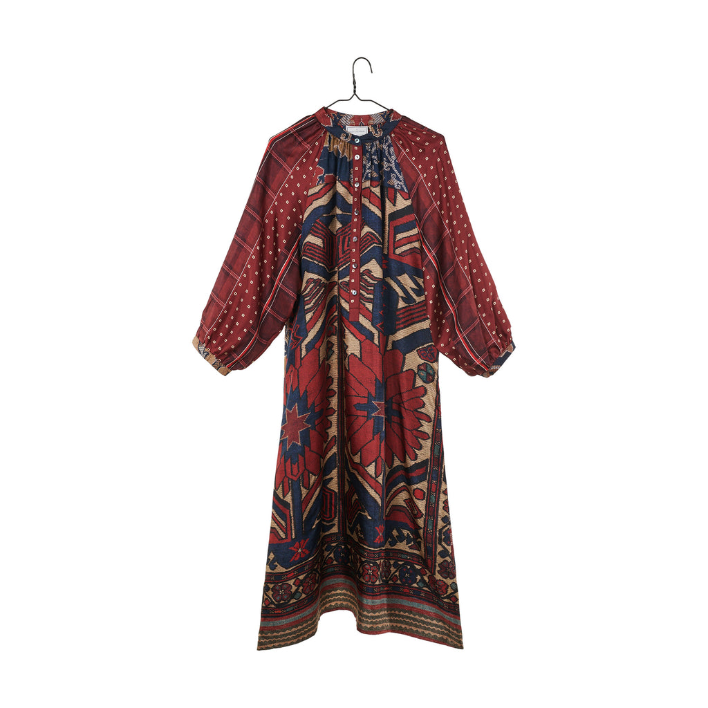 Mixed Print Dress - Red