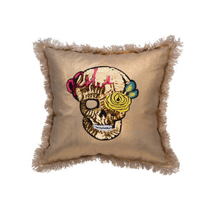 Metallic Skull Pillow