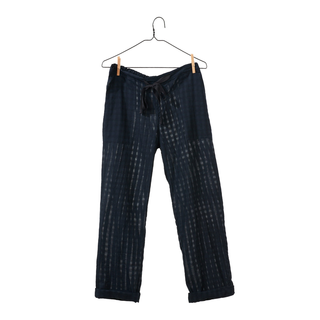Black Khadi Grid Pant
