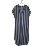 Aubergine V-Neck Striped Dress