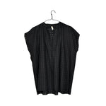 Black Khadi Grid Top
