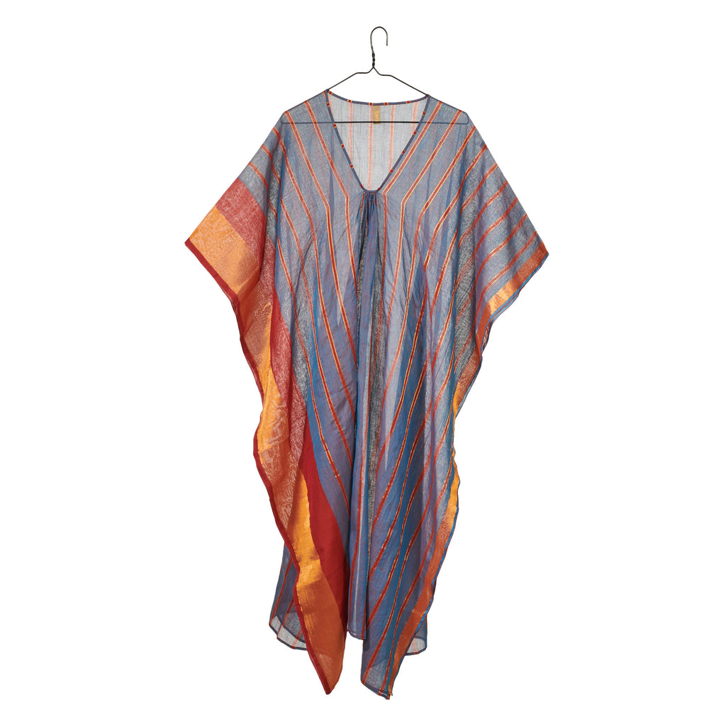 Blue and Rust Metallic Striped Caftan