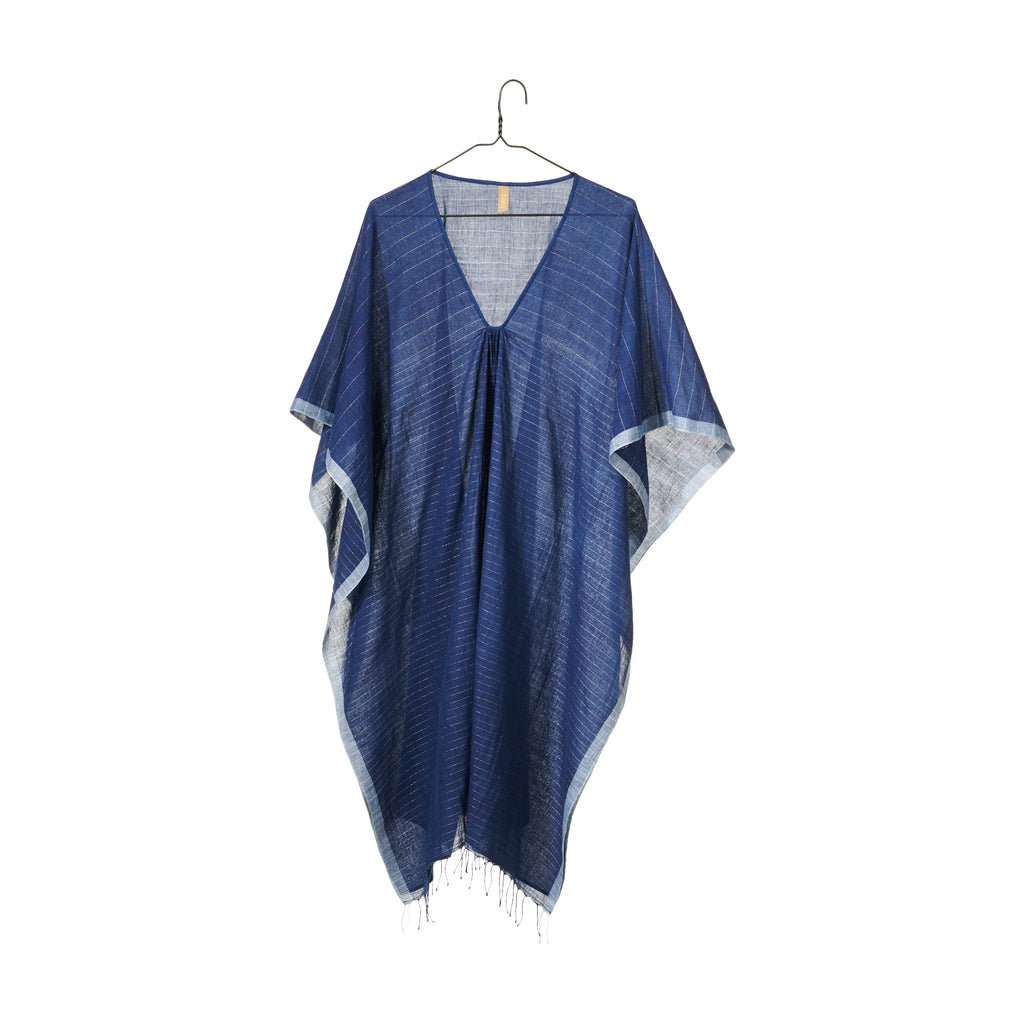Indigo Metallic Striped Caftan