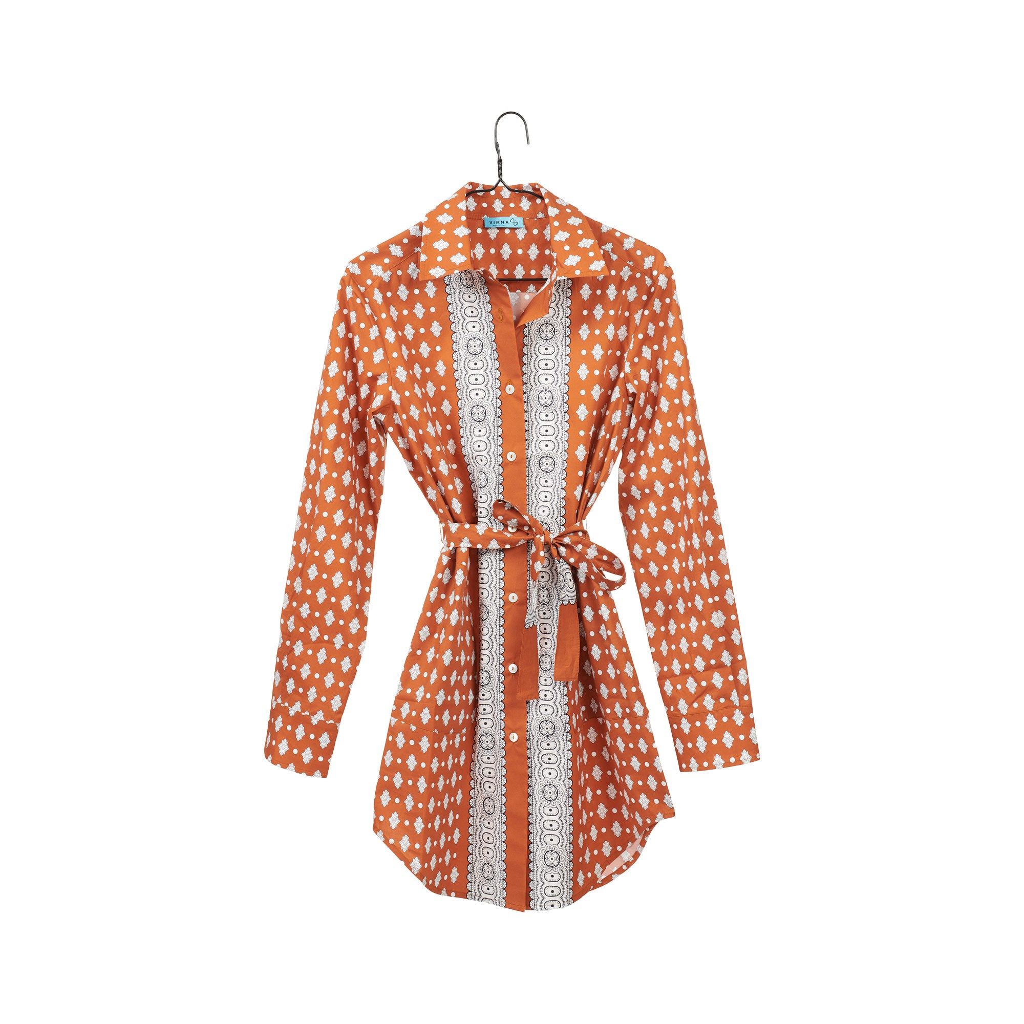 Elba Orange Shirtdress