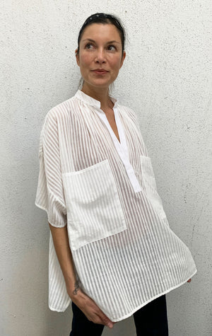 White Khadi Striped Top