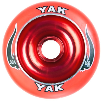 Yak Scat 100mm Metal Core Wheels Red