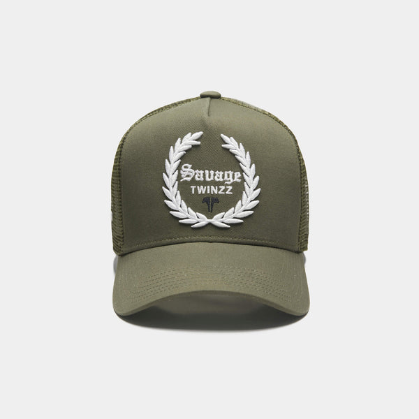 LAUREL TRUCKER CAP - KHAKI/WHITE