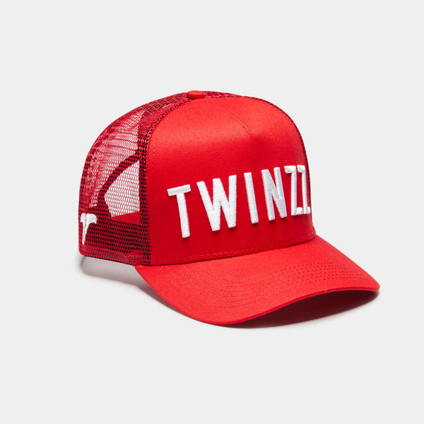3D Mesh Back Shine Trucker -  Red / White